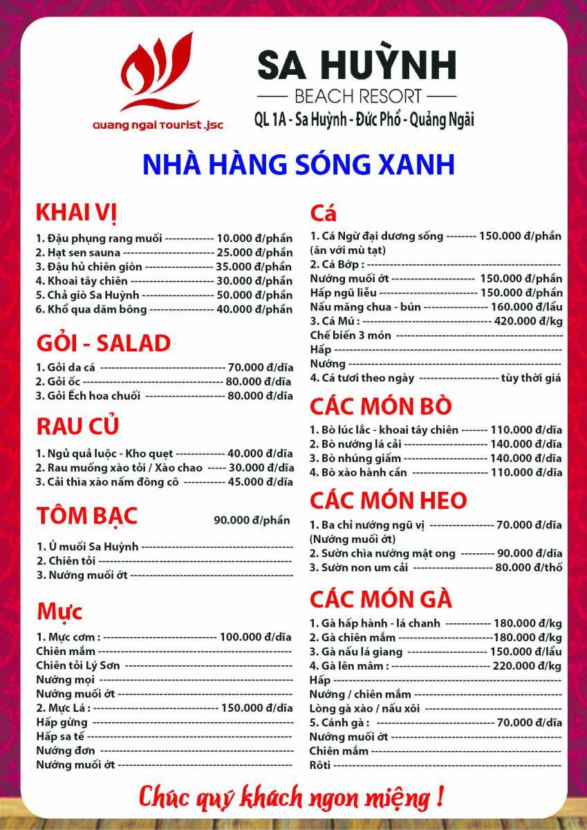 Thực đơn khai trương nhà hàng Sóng Xanh - Sa Huỳnh Beach Resort