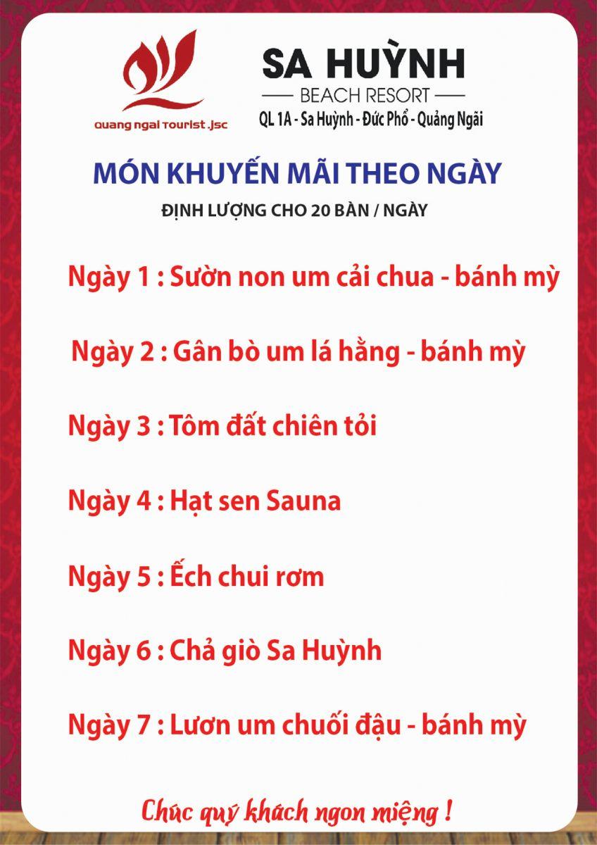 Thực đơn uống khai trương nhà hàng Sóng Xanh - Sa Huỳnh Beach Resort